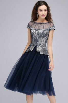 BRIDGET | A-Line Round Neck Knee-Length Tulle Lace Dark Navy Homecoming Dresses_6