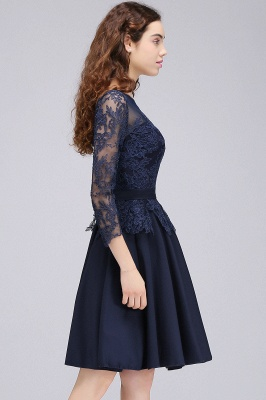 CARA | A-line Sheer Neck Short Dark Navy Homecoming Dresses with Lace Appliques_7