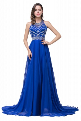 ELLA | A-line Crew Floor-length Sleeveless Tulle Prom Dresses with Crystal Beads_3