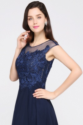 AVALYN   A-line Scoop Navy Chiffon Prom Dress With Appliques_8