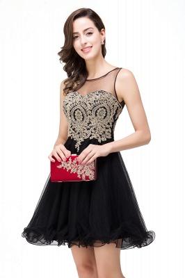 ESTRELLA | A-line Crew Short Sleeveless Appliques Prom Dress_12