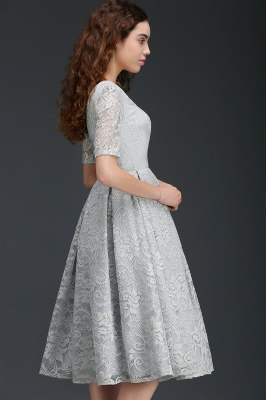 ALEXANDRA | A Line V Neck Lace Short Homecoming Dresses With Sleeves_3
