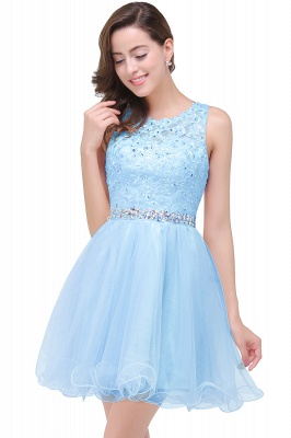 ABBY | A-line Knee-length Tulle Prom Dress with Appliques&Crystal_4