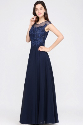 AVALYN   A-line Scoop Navy Chiffon Prom Dress With Appliques_6
