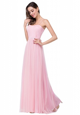 Simple Spaghetti-Straps Ruffles A-Line Pink Open-Back Evening Dress_8