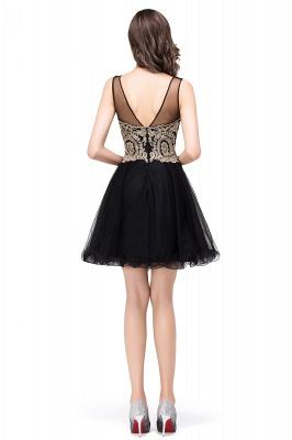 ESTRELLA | A-line Crew Short Sleeveless Appliques Prom Dress_8