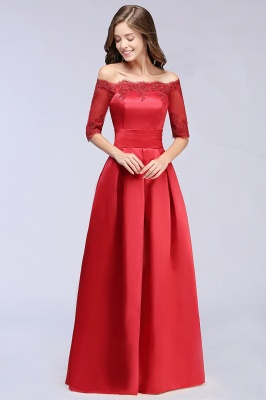 ELLISON | A-line Half Sleeve Floor-length Off-shoulder Appliques Prom Dresses_5