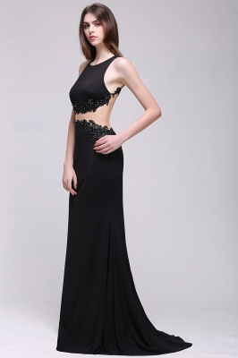 BLAKELY | Sheath Round Neck Floor-Length Black Prom Dresses With Crystal_5