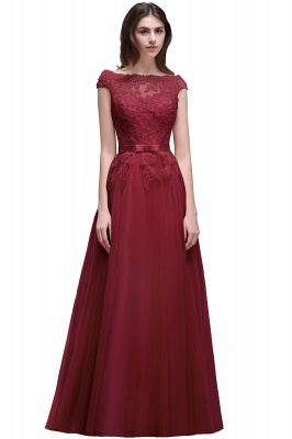 AUBREE | A-line Floor-Length Tulle Prom Dress With Lace Appliques_3