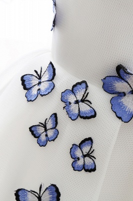 Custom Made A-line Cute White Short Homecoming Dresses With Butterfly_6