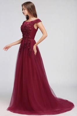 EMBER   A-line Off-shoulder Floor-length Tulle Appliques Prom Dresses_11
