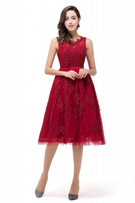 DANA | A-Line Knee-Length Red Lace Tull Prom Dresses with sequins_1