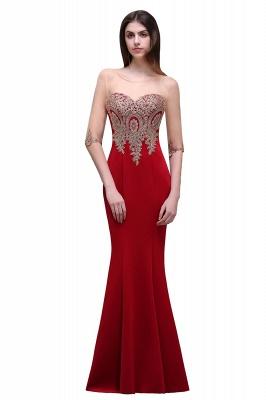 BELLA   Sheath Round Neck Floor-Length Burgundy Prom Dresses With Applique_3