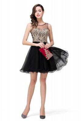 ESTRELLA | A-line Crew Short Sleeveless Appliques Prom Dress_10