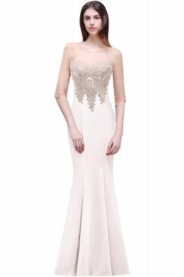 BELLA   Sheath Round Neck Floor-Length Burgundy Prom Dresses With Applique_1