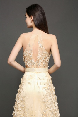 ALIYAH | A-line Floor Length Champagne Evening Dresses with Appliques_6
