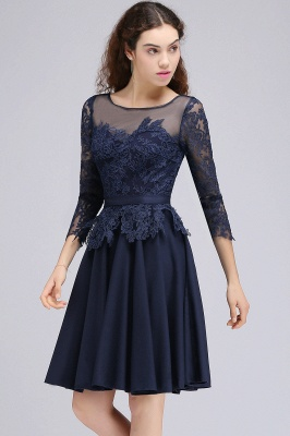 CARA | A-line Sheer Neck Short Dark Navy Homecoming Dresses with Lace Appliques_5