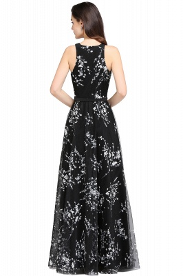 ALYSSA | A-line Floor Length Black Evening Dresses with Flowers_8