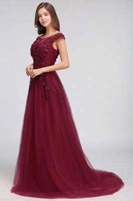 EMBER   A-line Off-shoulder Floor-length Tulle Appliques Prom Dresses_12