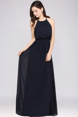 CHEYENNE | A-line Floor-length Chiffon Navy Blue Simple Prom Dress_10