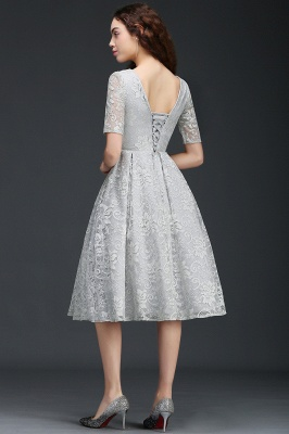 ALEXANDRA | A Line V Neck Lace Short Homecoming Dresses With Sleeves_5