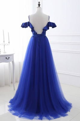 CHANEL | Ball Gown Off-the-shoulder Floor-length Blue Tulle Prom Dress_3