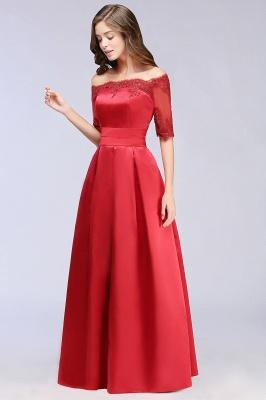 ELLISON | A-line Half Sleeve Floor-length Off-shoulder Appliques Prom Dresses_6