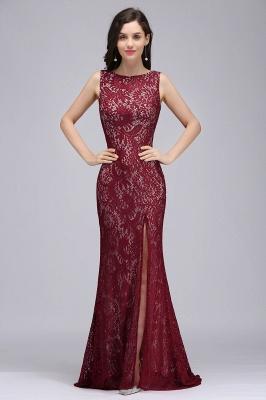 DULCE | Mermaid Crew Floor-length Sleeveless Burgundy Lace Prom Dresses_1
