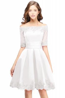 ELSIE | A-line Off-shoulder Half Sleeves Short Lace Appliques Prom Dresses_1