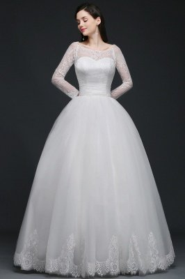AZARIA | Princess Scoop Tulle White Wedding Dress With Lace