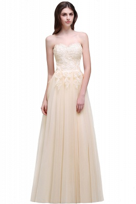 AUBRIANNA | Aline Floor Length Tulle Prom Dress With Appliques_1