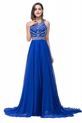 ELLA | A-line Crew Floor-length Sleeveless Tulle Prom Dresses with Crystal Beads_6