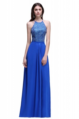 CALLIE   A-line Halter Neck Chiffon Royal Blue Prom Dresses with Sequins_2