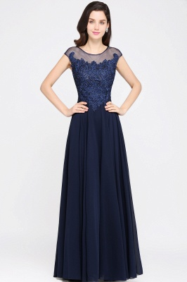 AVALYN   A-line Scoop Navy Chiffon Prom Dress With Appliques_1
