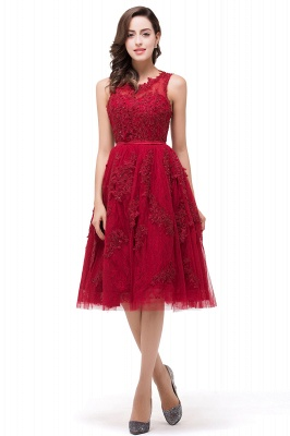 DANA | A-Line Knee-Length Red Lace Tull Prom Dresses with sequins_4