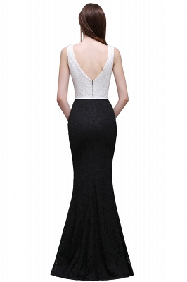 BAILEY | Sheath Scoop Floor-Length Lace White And Black Prom Dresses_3