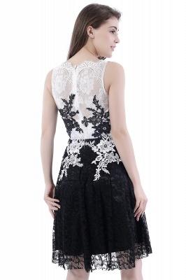 DAHLIA | Short Sheath Sleeveless Black Lace Prom Dresses_4