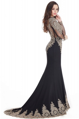 Crystal | Sexy Mermaid Lace Appliques Long Sleeves Prom Dresses with Beadings_8