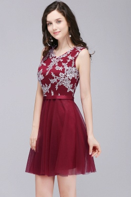 CARMEN | A-line Short Pink Tulle Homecoming Dresses with Lace Appliques_6