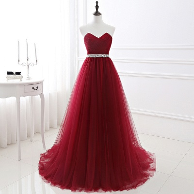 Custom Made Fluffy Tulle A-line Sweetheart Burgundy Prom Dresses Cheap With Beads Belt_2