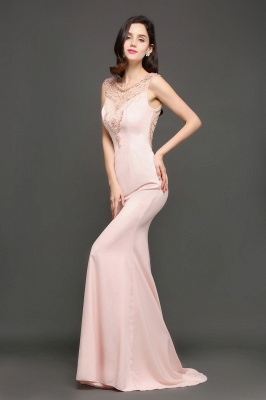 ALIZA | Mermaid Sweep Train Pearl Pink Prom Dresses with Crystal_6