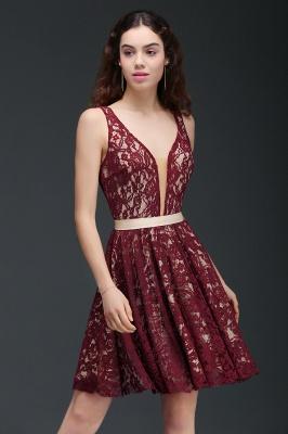 Sleeveless V-Neck Burgundy A-Line Short Lace Homecoming Dresses_1
