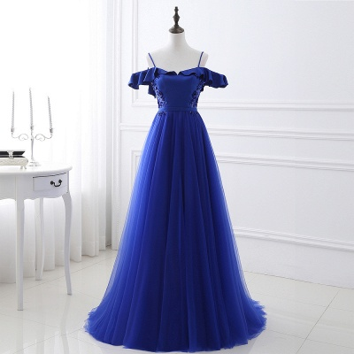CHANEL | Ball Gown Off-the-shoulder Floor-length Blue Tulle Prom Dress_5