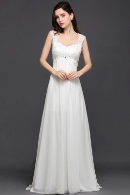 AYLA | A-line Sweetheart Chiffon White Evening Dress With Lace_1