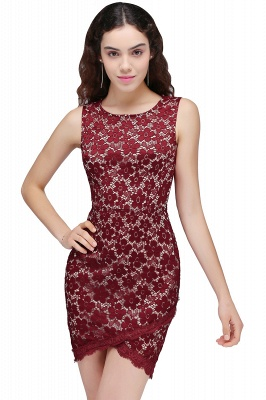 BRILEY | Bodycon Round Neck Short Lace Burgundy Homecoming Dresses_2