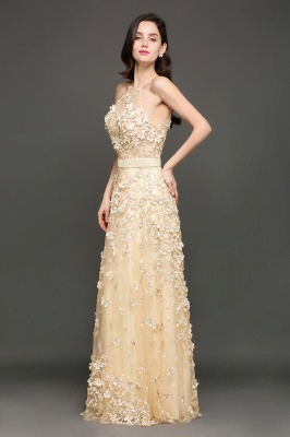 ALIYAH | A-line Floor Length Champagne Evening Dresses with Appliques_4