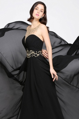 AVA | A-line Scoop Chiffon Prom Dress With Lace_7