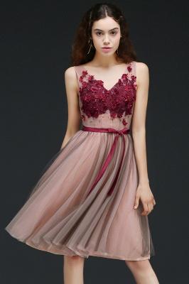 Sash V-Neck Open-Back A-line Burgundy-Flowers Romantic Homecoming Dresses_1