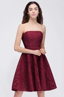 BRENNA | A-Line Strapless Burgundy Homecoming Dresses_4