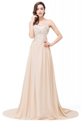 FAITH | A-Line Sweetheart Floor-Length Sleeveless Chiffon Prom Dresses with Crystals